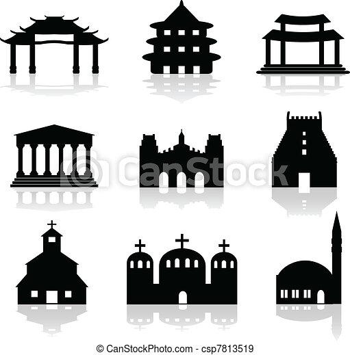 various temple and church illustrat - csp7813519