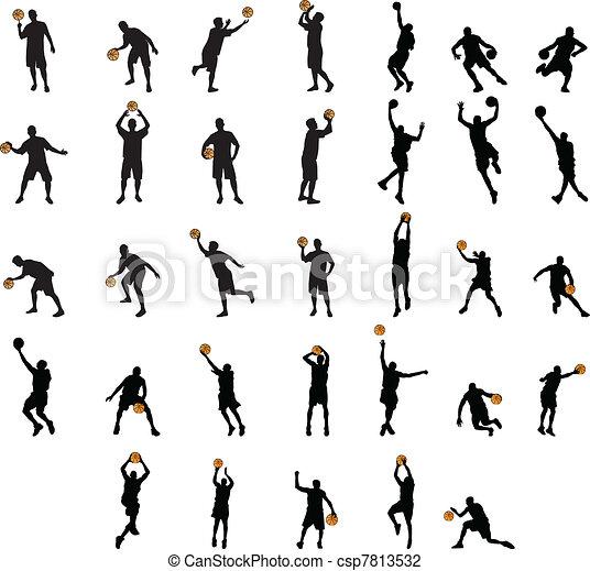 Ilustraciones De Vectores De Baloncesto Siluetas