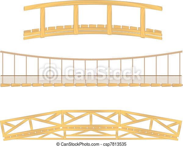 wooden and hanging bridge vector - csp7813535