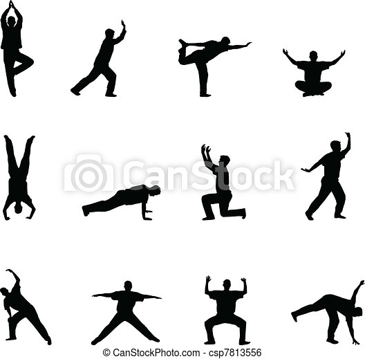 exercise and yoga silhouettes - csp7813556
