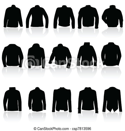 jacket for man and women in black silhouette - csp7813596