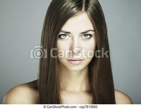 Fashion portrait of young beautiful woman. Close-up - csp7813650
