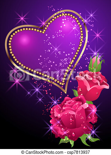 Hearts And Roses And Stars Drawings Heart, roses and stars -