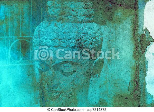 Grunge textured collage - Balinese God statue  - csp7814378