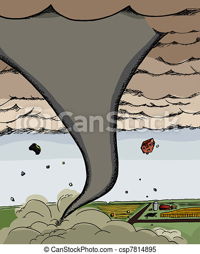 Clipart Vector of Powerful Tornado - Powerful tornado funnel cloud ...