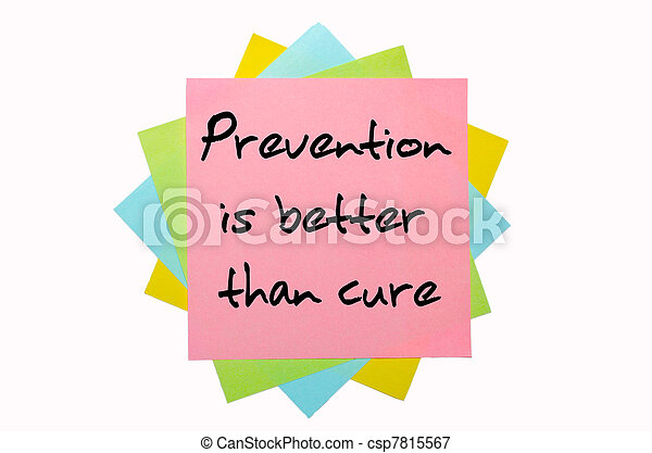 """text """" Prevention is better than cure """" written by hand font on bunch of colored sticky notes - csp7815567"""
