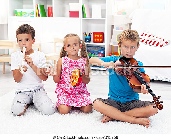 Kids playing on musical instruments - csp7815756
