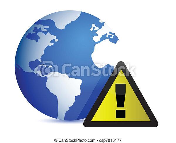 Globe Icon: Attention illustration  - csp7816177