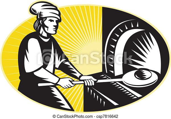 medieval baker baking bread pan oven retro - csp7816642