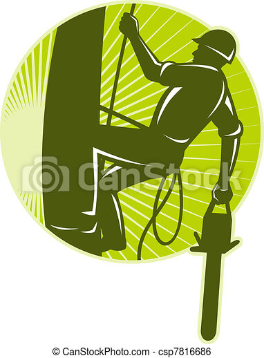 arborist tree surgeon chainsaw retro - csp7816686