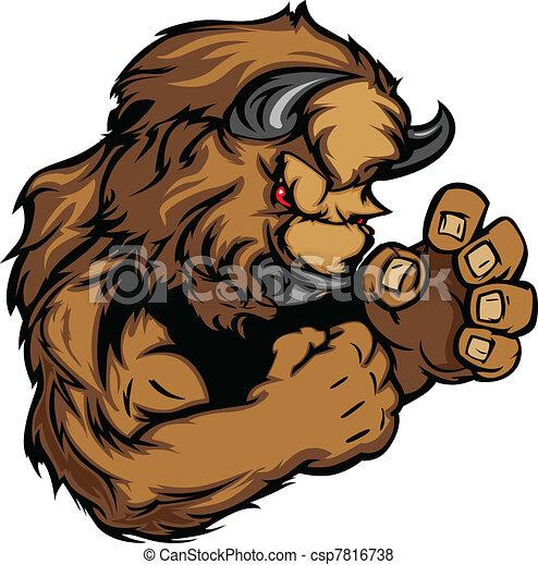 búfalo, o, bisonte, lucha, mascota, cuerpo, vector, Ilustración