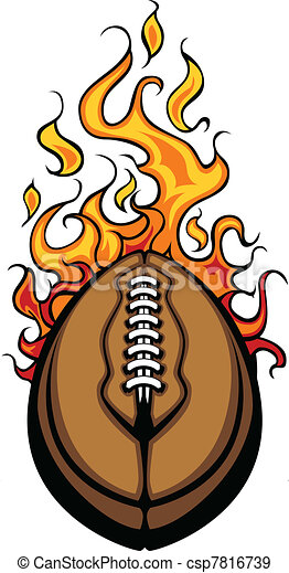 American Football Ball Flaming Vect - csp7816739