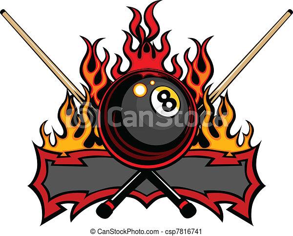 Billiards Eight Ball Flaming Vector - csp7816741