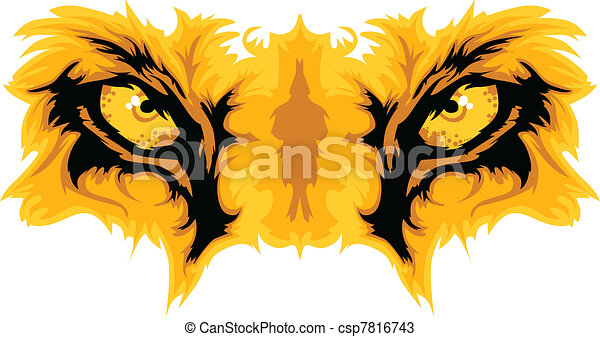 Lion Eyes Mascot Vector Graphic - csp7816743