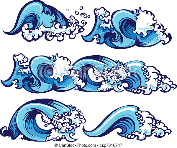 Vectors Illustration Of Crashing Water Waves Illustration