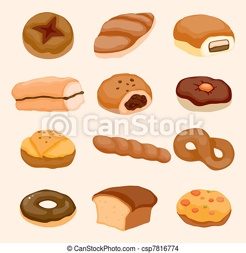 cartoon bread icon - csp7816774