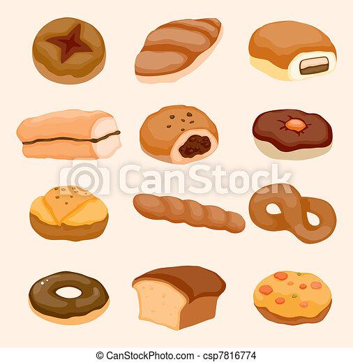 cartoon bread icon - csp7816774