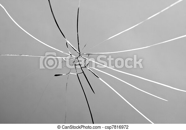Broken and Shattered Glass Pane - csp7816972