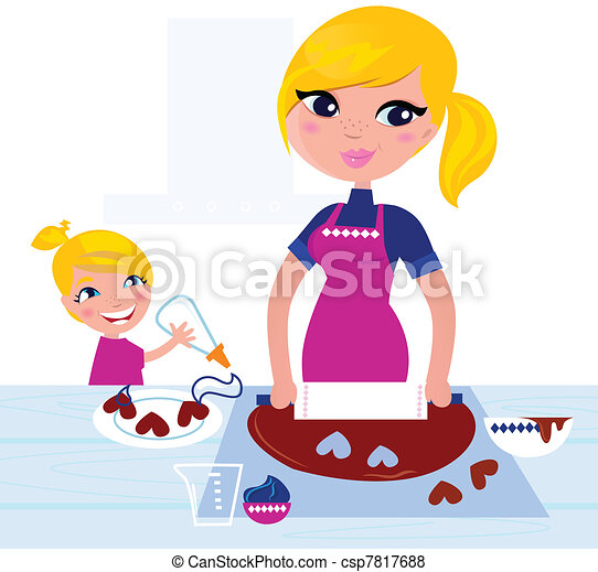 Cute Girl helping her Mother with christmas baking   - csp7817688