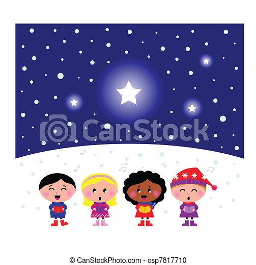 Cute multicultural Kids singing Christmas Carol song   - csp7817710