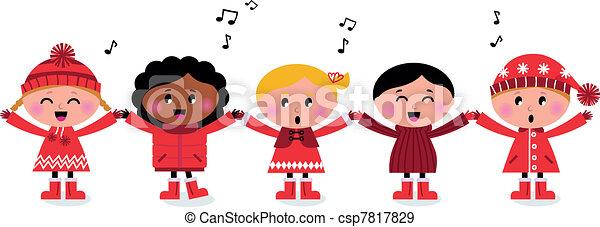 Happy smiling caroling multicultural kids singing song - csp7817829