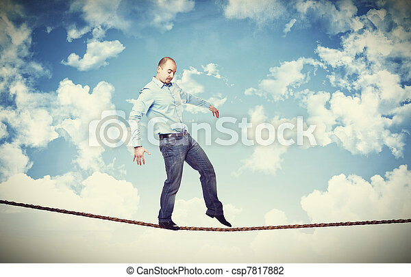 man walk on rope - csp7817882