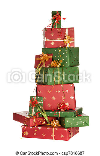 Stack of christmas presents - csp7818687
