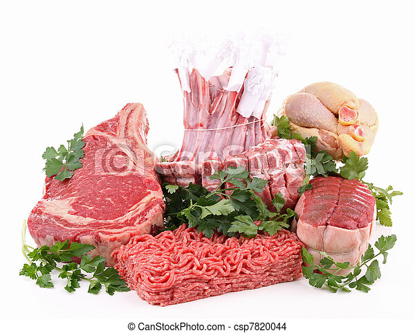 isolated assortment of raw meat - csp7820044