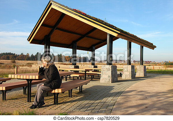 Recreational & picnic area shelter. - csp7820529