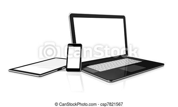 illustrations de ordinateur portable mobile t l phone num rique csp7821567 recherchez. Black Bedroom Furniture Sets. Home Design Ideas