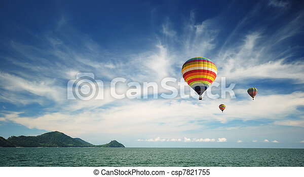 Hot air balloon travel over Andaman sea - csp7821755