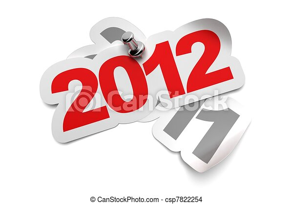2012 sticker fixed onto 2011 - 3d greeting card over a white background, numbers are fixed with a metal thumbtack - csp7822254