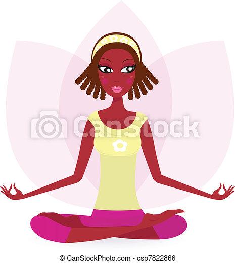 Ethnic female practicing yoga exercise isolated on white Ethnic  - csp7822866