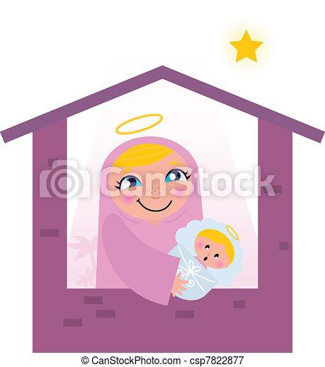 Nativity Bethlehem scene: Virgin Mary and Baby Jesus   - csp7822877