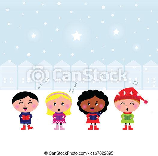 Cute Christmas Carroling Children singing in Town   - csp7822895