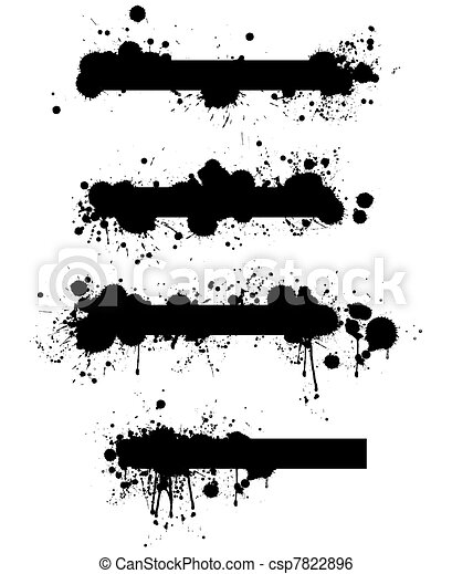 Set of Grunge Vector Splatter Banners - csp7822896