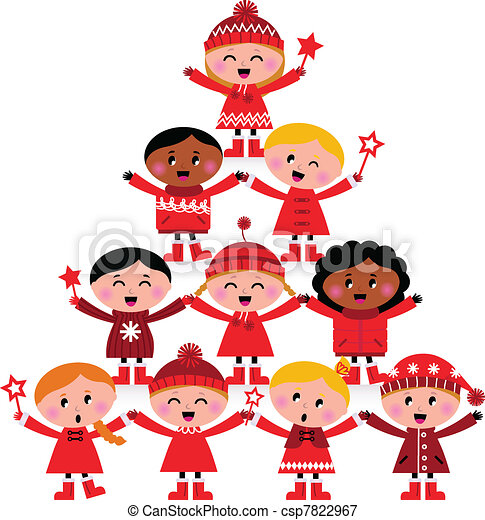 Christmas multicultural kids Tree isolated on white