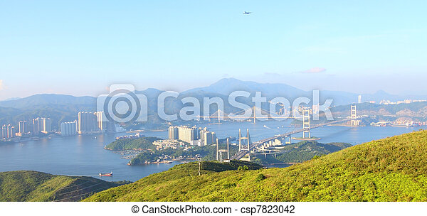 Three famous bridges in Hong Kong at day - csp7823042