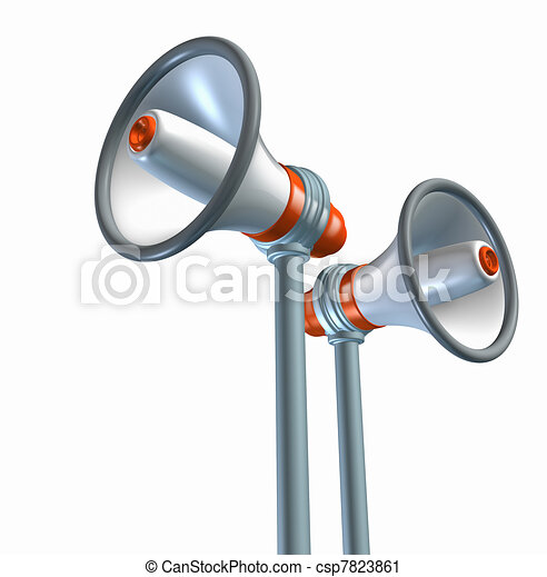 Bullhorn and megaphone symbol - csp7823861