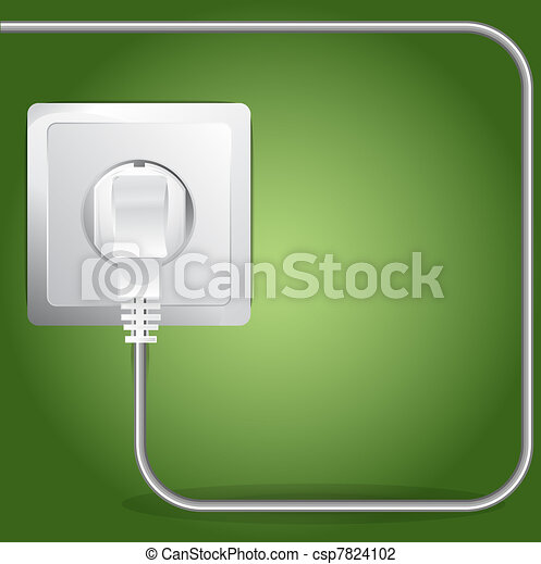 Vector Plugged Electric Cable Background - csp7824102