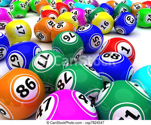 a set of colouored bingo balls - csp7824547