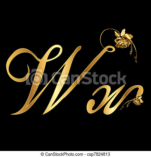 Golden vector letter W with roses - csp7824813