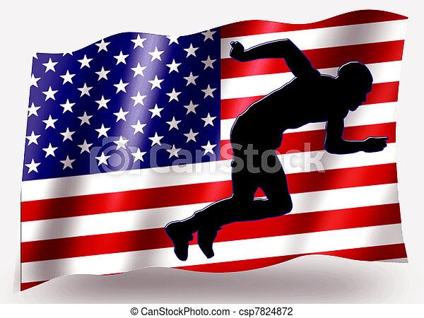 Country Flag Sport Icon Silhouette USA Athletics Sprint - csp7824872
