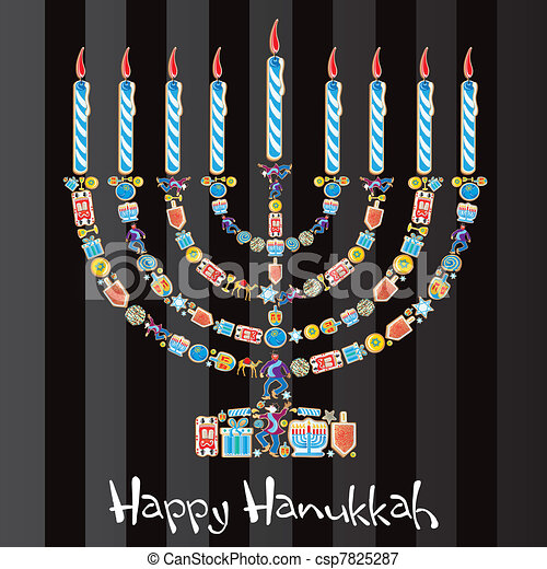 Happy Hanukkah Cookie Menorah - csp7825287