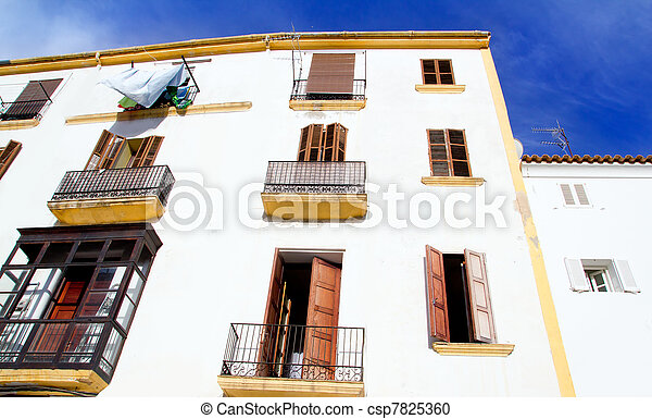 Ibiza town white facades of mediterranean - csp7825360