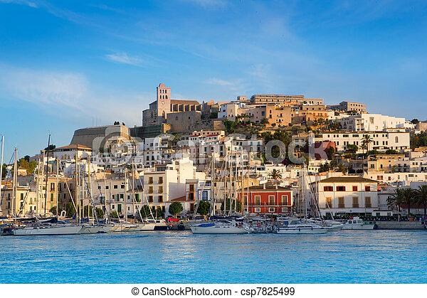 Ibiza Eivissa town with blue Mediterranean - csp7825499