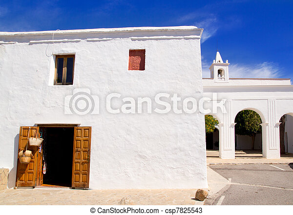 Ibiza San Miguel de Balansat white church - csp7825543