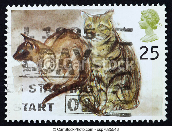 Postage stamp GB 1995 Siamese cats - csp7825548
