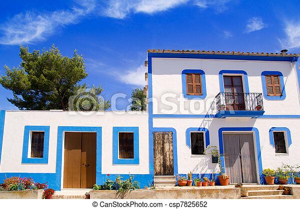 Ibiza white house in Sant Miquel del Balansat - csp7825652