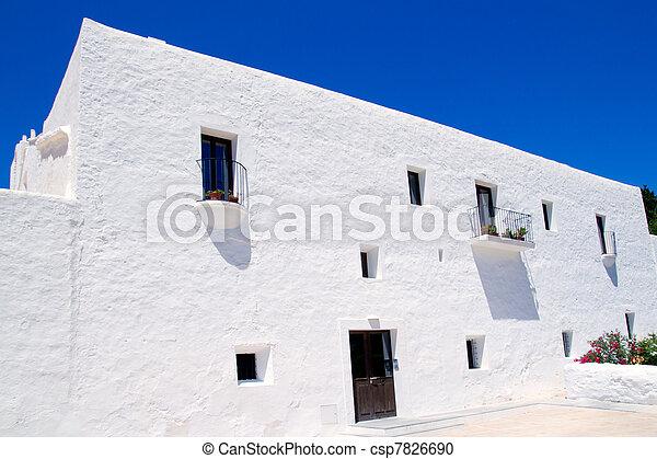 Ibiza white church in Sant Carles Peralta - csp7826690